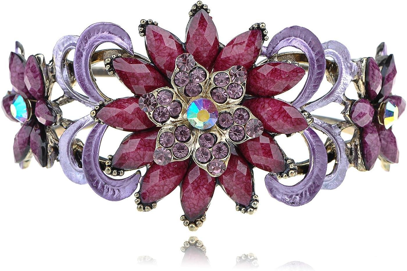 Alilang Womens Vintage Amethyst Purple Crystal Flower Bead Boho Retro Fashion Cuff Bangle Bracelet