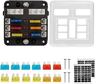 Thlevel Säkringsbox, 6-vägs proppsäkringsblock, 6 kretsar, säkringsbox med negativ buss LED varningsindikator, fuktsäkert ...
