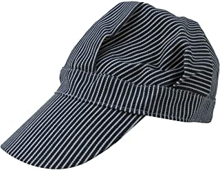 Hickory Stripe Railroad Engineer Cap Denim Train Conductor Hat Costume Accessory