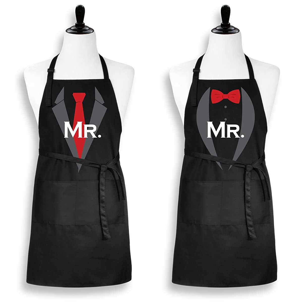 Mr. and Mr. Gay Couple Apron, His and His Same Sex Wedding Engagement Gift Set from Plum Hill