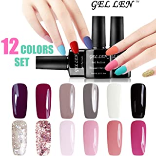 Gellen UV Gel Nail Polish 12 Colors Kit, Nail Art Home Salon Gift Set, 10ml Each #3