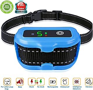 Huicocy Rechargeable Bark Collar, [2019 Upgraded CHIP] Accurate Bark Detection Chip with Dual Stop Barking Modes:Beep Vibration/Beep Vibration Shock for 6-150LB Dogs,IPX7 Waterproof No Bark Collar