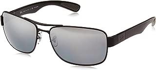 Men's RB3522 Square Metal Sunglasses, Matte Black/Polarized Grey Mirror Silver Gradient, 61 mm