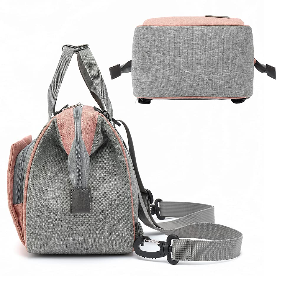 Diaper Bag Backpack- Baby Waterproof Multi-Function Mini Smart Diaper Bag Backpack Baby Messenger for Outdoor & Working Mothers, Small Size (Grey)