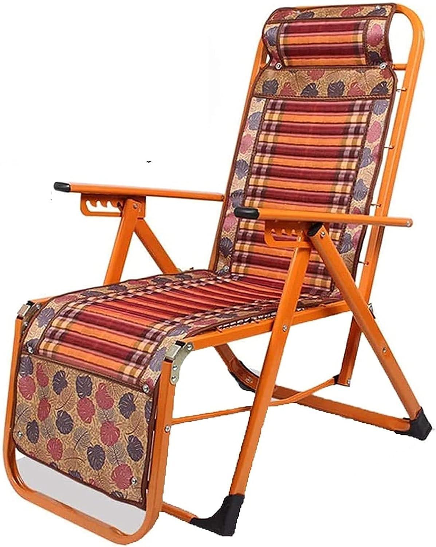 Silla plegable de jardín, silla plegable Reforzamiento reclinable de verano Sillón reclinable plegable para adultos Oficina perezosa Pausa para el almuerzo Balcón Sofá reclinable Silla de bambú con sa