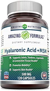 Amazing Nutrition Hyaluronic Acid & MSM Dietary Supplement - 500 Milligrams - 120 Capsules - Provides Joint, Tendon & Liga...