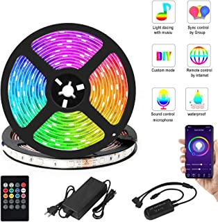 Billon Seed LED Strip Lights 10m,Waterproof Flexible Self Adhesive 5050 RGB 300 LEDs Phone App Controlled with Remote Light Kit,Smart Music Sync Light Strip for Party Room Bedroom TV