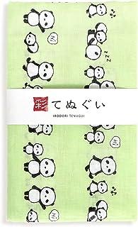 彩(irodori) ガーゼ手ぬぐい パンダ グリーン 緑 日本製 てぬぐい 二重袷 二重ガーゼ ほつれ防止加工 約33×88cm