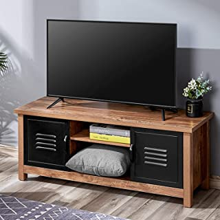 Kealive TV Stand Wood Rustic Entertainment Center for Flat Screens up to 50'', Modern TV Console Farmhouse Media Center with Doors and Shelves for Home Living Room, Oak