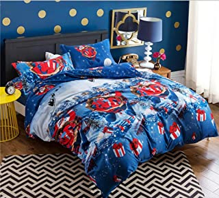 Andreannie Queen Size 3d Bedding Sets Merry Christmas Adorable Santa Claus Christmas Tree Lovely Elk Reindeer Gift Box Blu...