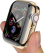 [Upgrade 2Pack 44mm] Eurob Compatible with Apple Watch Series 4 Screen Protector 44mm,2018 New iWatch Series 4 All Around Protective Case TPU HD Clear Ultra-Thin Cover for Apple Watch Series 4,Gold