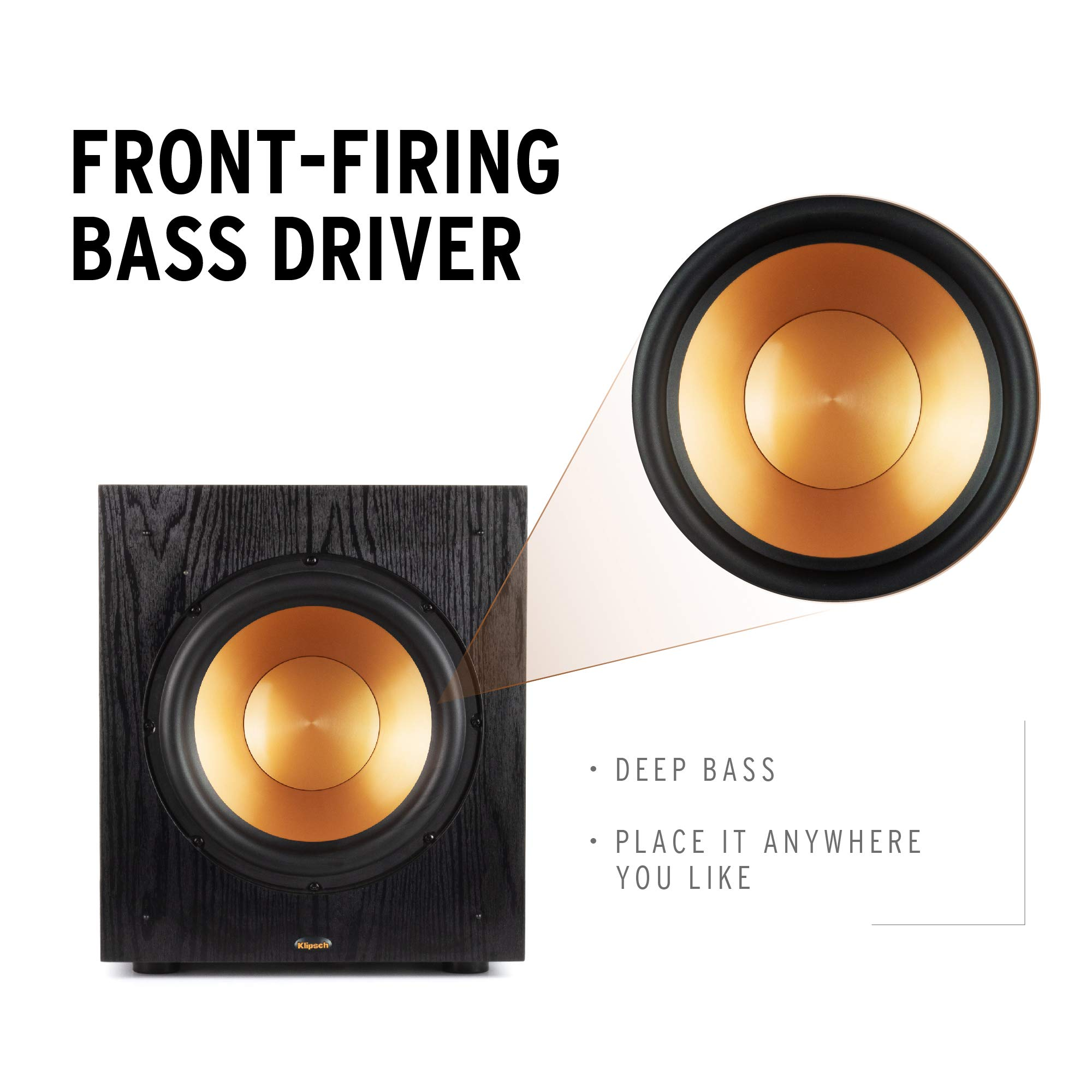 """Klipsch Synergy Black Label Sub-100 10"""" Front-Firing Subwoofer with 150 Watts of continuous power, 300 watts of Dynamic Power, and All-Digital Amplifier for Powerful Home Theater Bass in Black"""