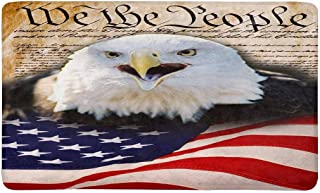 INTERESTPRINT We The People with Bald Eagle and American Flag Indoor Doormat Large 30 X 18 Inches Non Slip Front Entrance Door Mat Rug