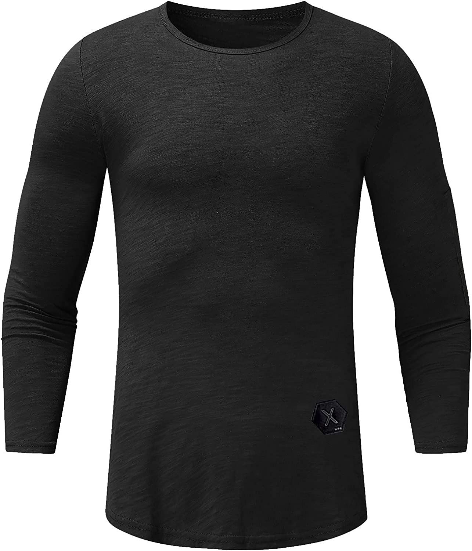 Men's Long-Sleeved Shirt, Henley Shirt with Grandad Neckline, Basic Long-Sleeved Casual T-Shirt, Microfibre Crewneck