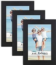 Icona Bay 4x6 (10 x 15 cm) Picture Frames (Black, 3 Pack), Sturdy Wood Composite Photo Frames 4 x 6, Sleek Design, Table T...