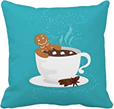 Awowee Throw Pillow Cover Funny Cartoon Gingerbread Man in Cup of Hot Chocolate 16x16 Inches Pillowcase Home Decorative Square Pillow Case Cushion Cover