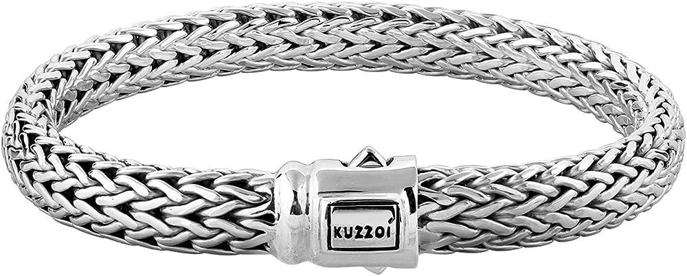 Kuzzoi,bracciale da uomo in argento sterling 925 (66 gr), massiccio, lavorato a mano 335204-023