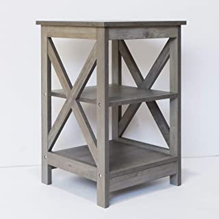 Farmhouse End Table Side Table (Washed Oak)