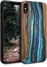 kwmobile Wood Case Compatible with Apple iPhone Xs Max - Non-Slip Natural Solid Hard Wooden Protective Cover - Watercolor Waves Blue/Brown