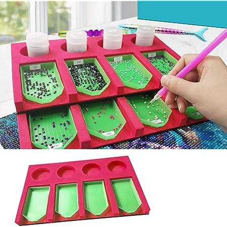 Plateau organiseur pour accessoires de peinture à strass pour adultes - Support multi-compartiments pour conteneurs de bocaux, kit d'outils de peinture à strass idéal pour les loisirs créatifs