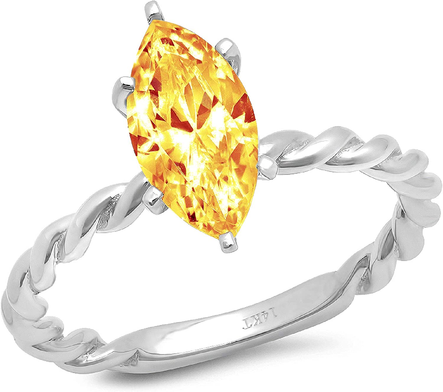 1.9ct Marquise Cut Solitaire Rope Twisted Knot Natural Yellow Citrine Ideal VVS1 Engagement Wedding Bridal Promise Anniversary Ring Solid 14k White Gold for Women