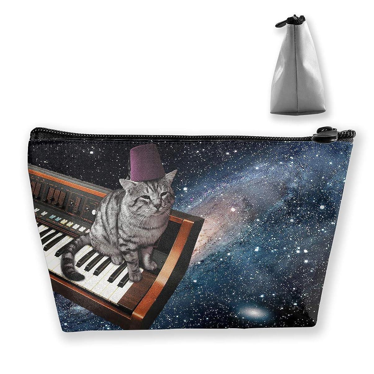 シソーラス聖職者断言する台形 レディース 化粧ポーチ トラベルポーチ 旅行 ハンドバッグ 猫ピアノプリント コスメ メイクポーチ コイン 鍵 小物入れ 化粧品 収納ケース
