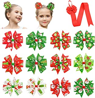 PHOGARY 12 PCS Bow Hair Clips for Girls (Red, Green, White), Classic Christmas Patterned Ribbon Knot with Alligator Hair Clips for Children's Xmas Gift (with Long Hair Bow Holder Organizer)