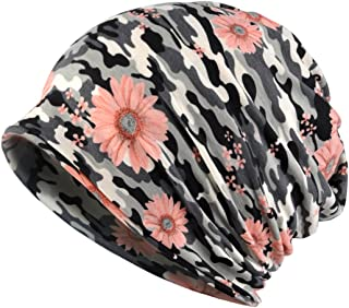 Jemis Womens Cotton Chemo Hat Beanie Scarf - Beanie Cap Bandana for Cancer (Camouflage Gray)