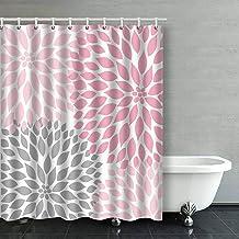 IrYuee Custom Pale Pink Gray White Dahlias Shower Curtain 60x72 inches