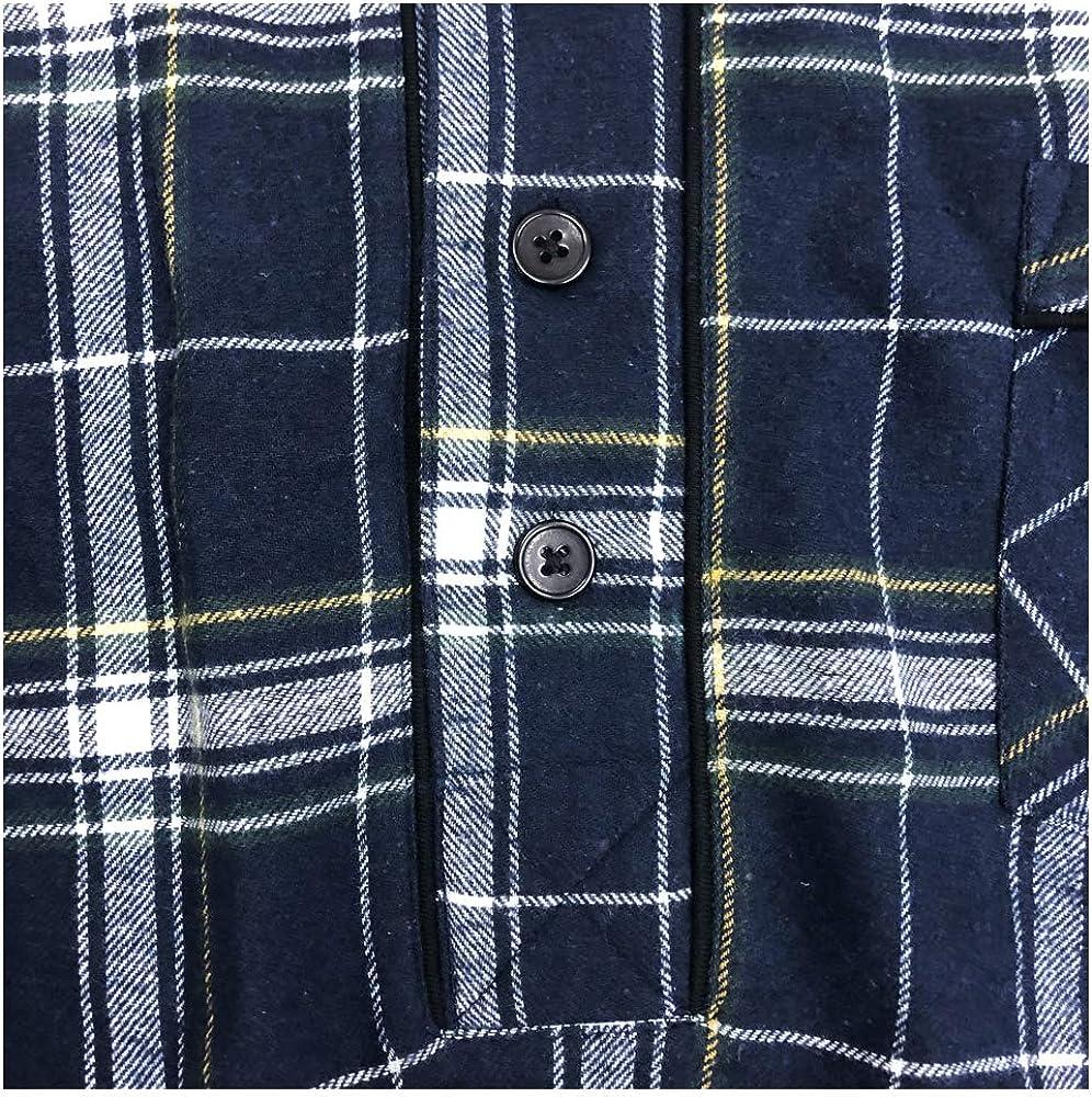 Mens Pjama Top Night Shirt Flannel Sleepwear Button Down Warm PJs Cozy Knit Stretch Fit for Men