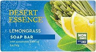 Desert Essence Lemongrass Soap Bar - 5 Ounce - Cleanse & Soothes Skin - Tea Tree Oil - Aloe Vera - Jojoba Oil - Refreshing...