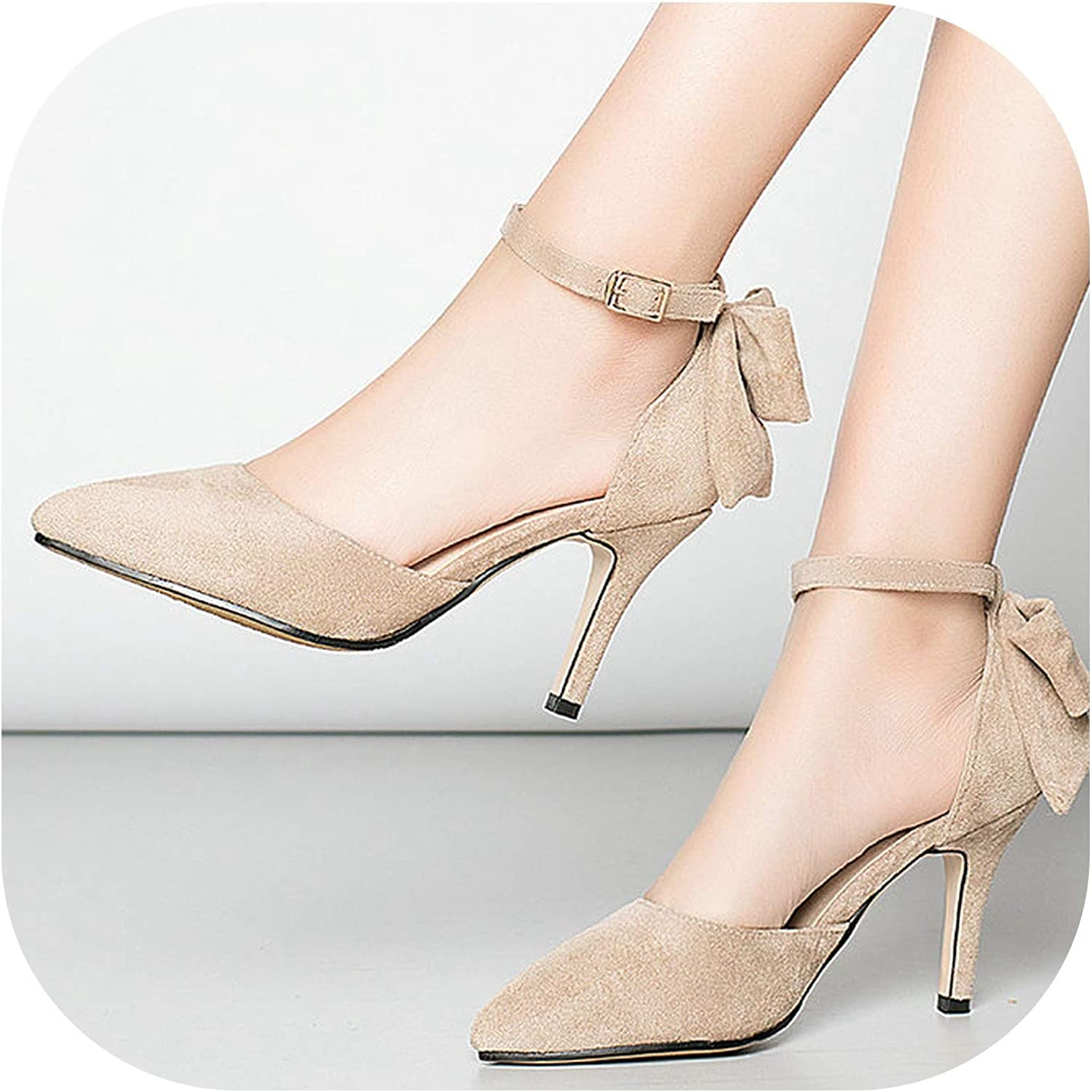2019 Summer High Heels Women Flock Bow Knot Pumps Thin High Heels Sandals Pointed Toe Party shoes Female