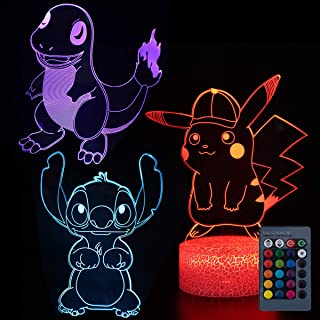 Koyya Pikachu Night Light 3D Illusion Table Lamp with 7 Color and 4 Changing Modes, USB Power/Touch Switch/with Remote Control for Room Decor,Kids's Toy and Gifts, 3 Pack