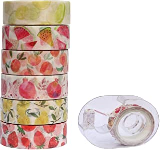 6 Rolls Fruit Series Washi Tape Set with Tape Dispenser - Strawberry Watermelon Lemon Pomegranate Peach Washi Masking Tape Set for Scrapbooking, Planner, Gift Wrapping
