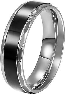 JewelryWe Gioielli Anello Nero Acciaio Inossidabile Vintage Amore Coppia Matrimonio Signore Anello per Fidanzamento/Promes...