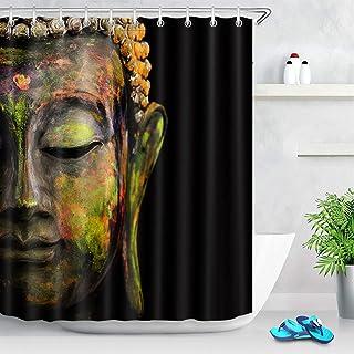 Spa Fleur de lotus et Chutes Tissu imperméable rideau de douche /& 12 Crochets
