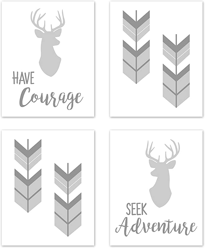 Sweet Jojo Designs Grey And White Woodland Deer Wall Art Prints Room Decor For Baby Nursery And Kids For Woodsy Collection Set Of 4 Seek Adventure Have Courage