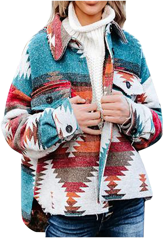 Jackets for Women Retro Ethnic Geometric Print Single-Breasted Pocket Long-Sleeved Woolen Coat Tops
