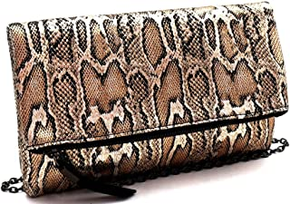 Metallic Gold Silver Snake Python Print PU Leather Fold Over Clutch Purse with Crossbody Chain