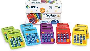 Learning Resources Rainbow Calculators, Basic Solar Powered Calculators, Teacher Set of 10 Calculators, Ages 3+ photo