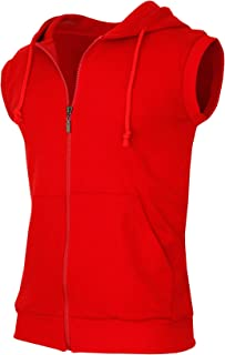 Men's Casual Zip-Hoodie Vest Cotton Sleeveless Zip up Hoodie Vest
