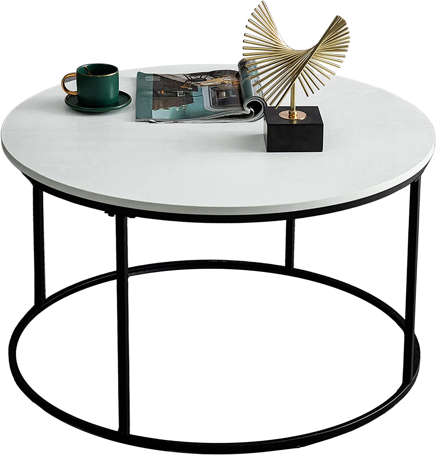 unisex Max 47% OFF Round Coffee Table for Living Room Tables Modern Circle