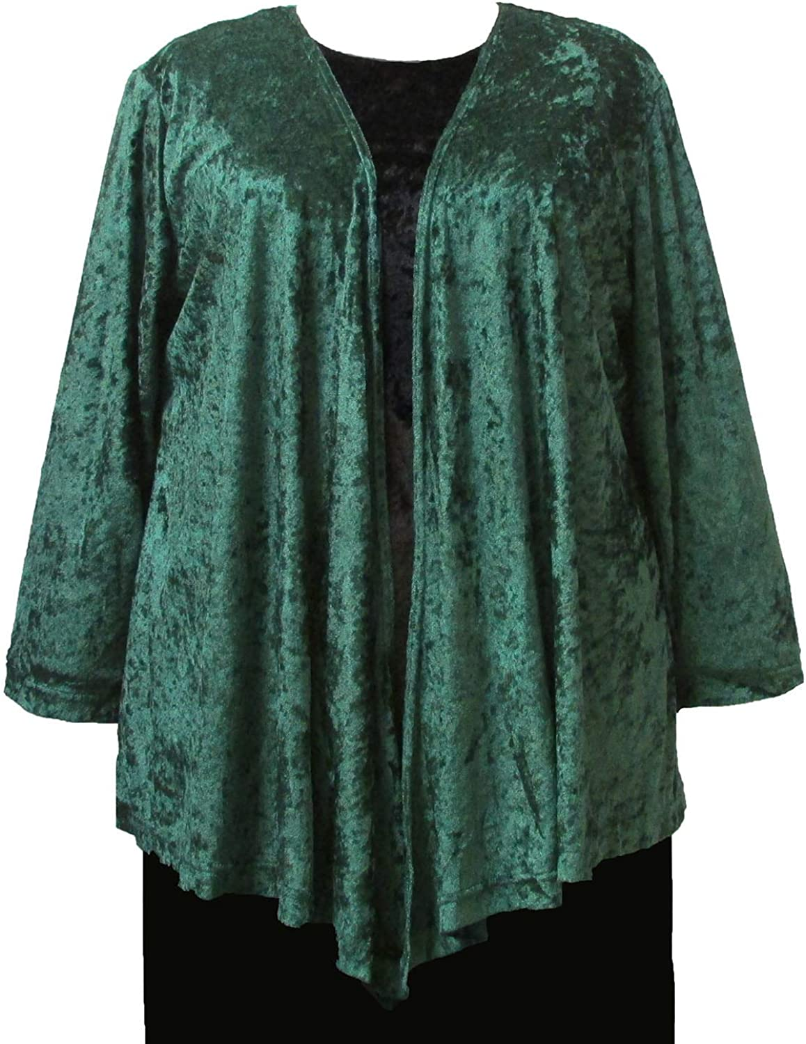 Forest Green Crushed Panne Delicate Drape Woman's Plus Size Cardigan