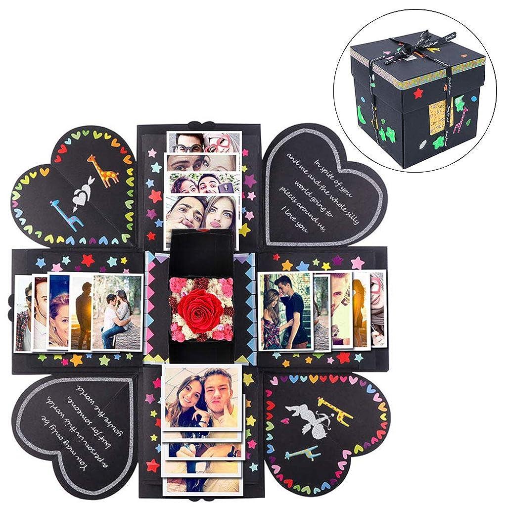 AerWo Creative Explosion Box, DIY Photo Album Scrapbooking Explosion Birthday Gift Box Surprise Box for Wedding Engagement Anniversary Birthday Gifts(Black)
