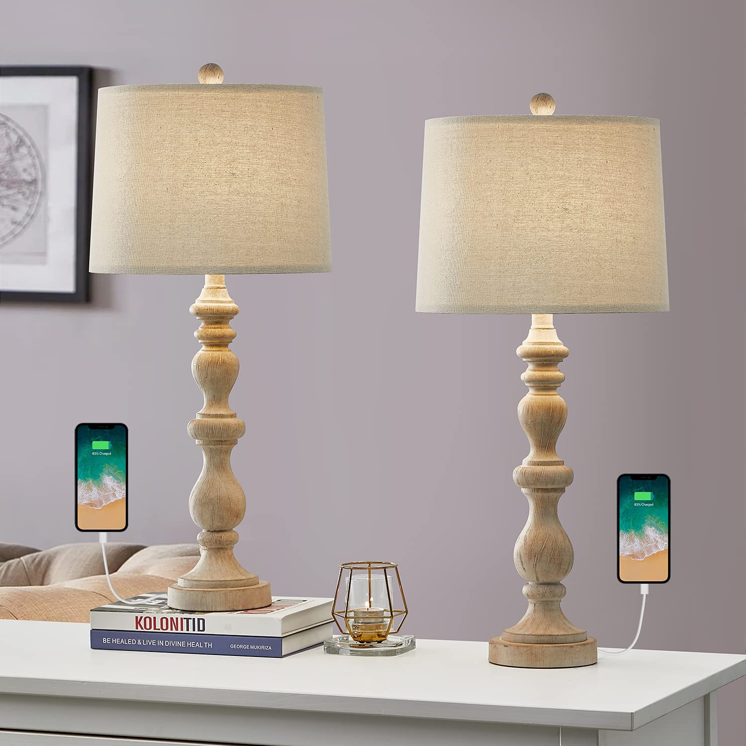 OYEARS USB 27.75'' Rustic Outlet ☆ Free Shipping Table Lamp Set 2 Room Ranking TOP9 for of Re Living