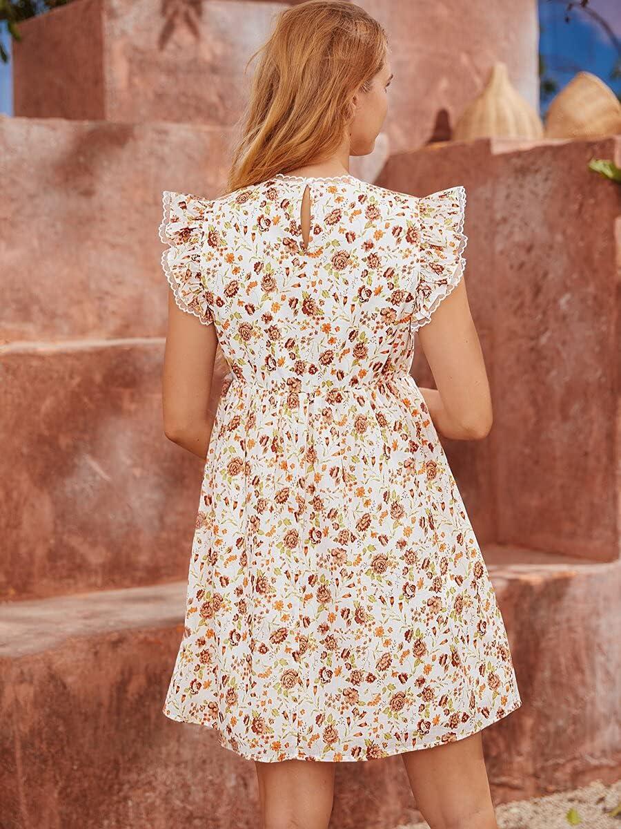 Shreem85 Maternity Dress 100% Detroit Mall Cotton Armhole Popular brand Al Ruffle