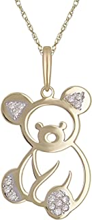10K Yellow Gold Diamond-Studded Teddy Bear Shaped Pendant Necklace (0.03 cttw, I-J Color, I1-I2 Clarity), 18