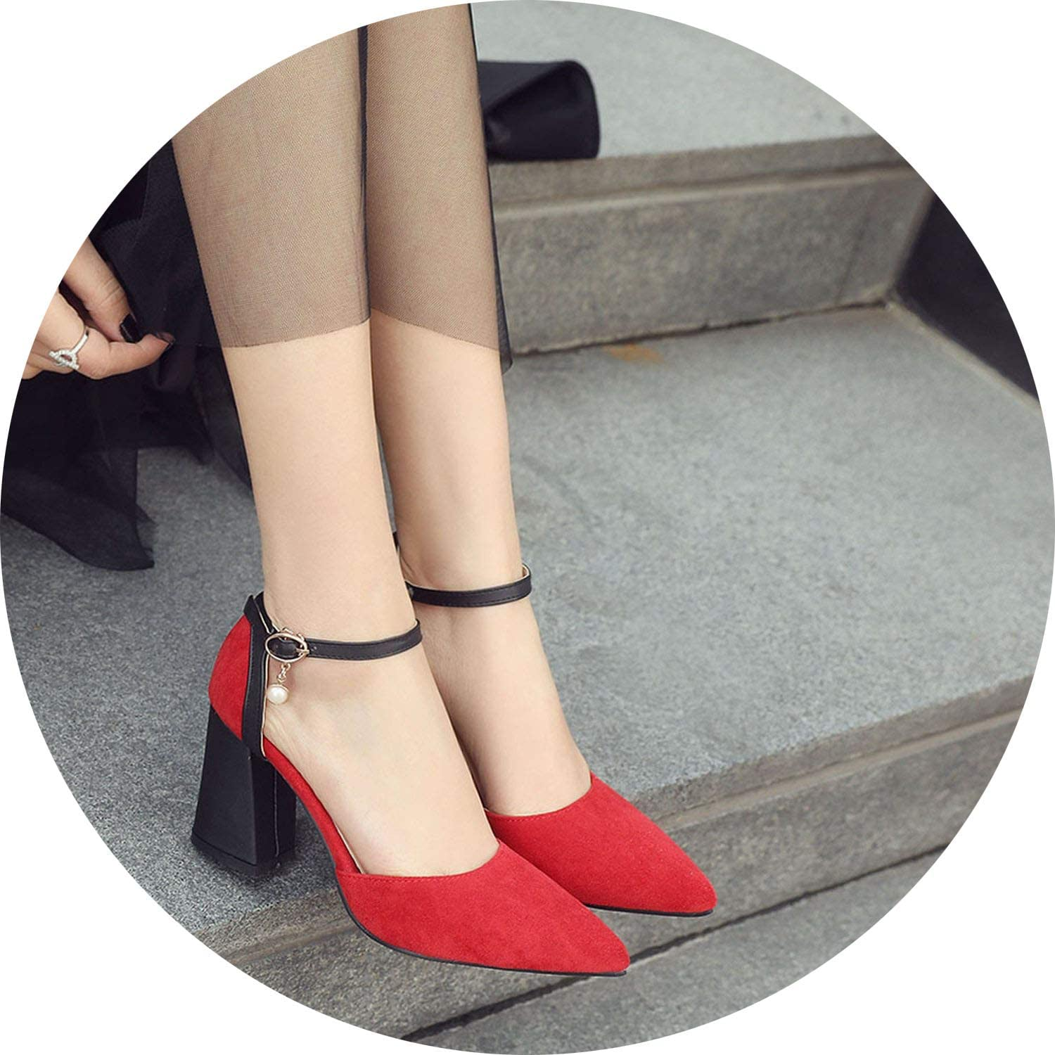 Get-in Dress shoes High Heels Boat shoes Wedding shoes Pointed Toe Thick Heel Buckle Pumps