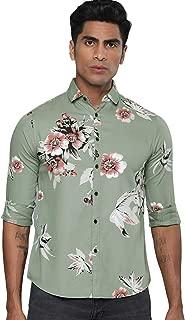 Dennis Lingo Men's Printed Dusty Blue Slim Fit Cotton Casual Shirt