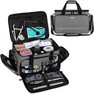 CURMIO Nurse Bag, Medical Bag Clinical Bag with Inner Dividers and No-Slip Bottom for Home Visits, Health Care, Hospice, Gift for Nursing Students, Physical Therapists, Doctors,Gray (Patented Design)
